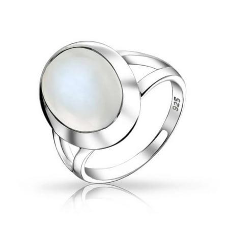 Oval Cabochon Bezel Gemstone Split Shank Boho Statement Mood Moonstone Ring For Women For Teen 925 Sterling Silver Mood Stone Rings