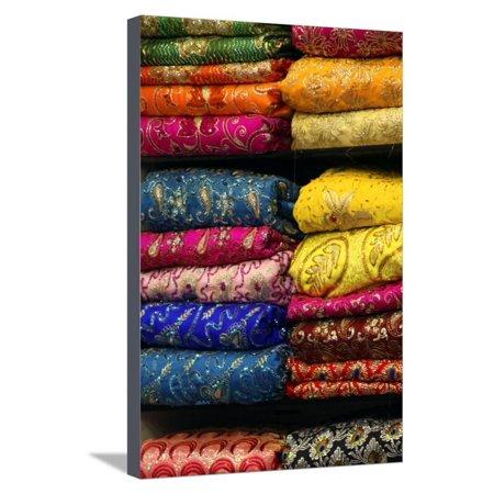 Colorful Sari Shop in Old Delhi Market, Delhi, India Stretched Canvas Print Wall Art By Kymri Wilt