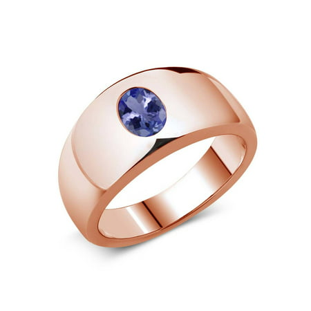 Oval Turquoise Slide (1.16 Ct Oval Blue AAA Tanzanite 925 Rose Gold Plated Silver Men's Ring )