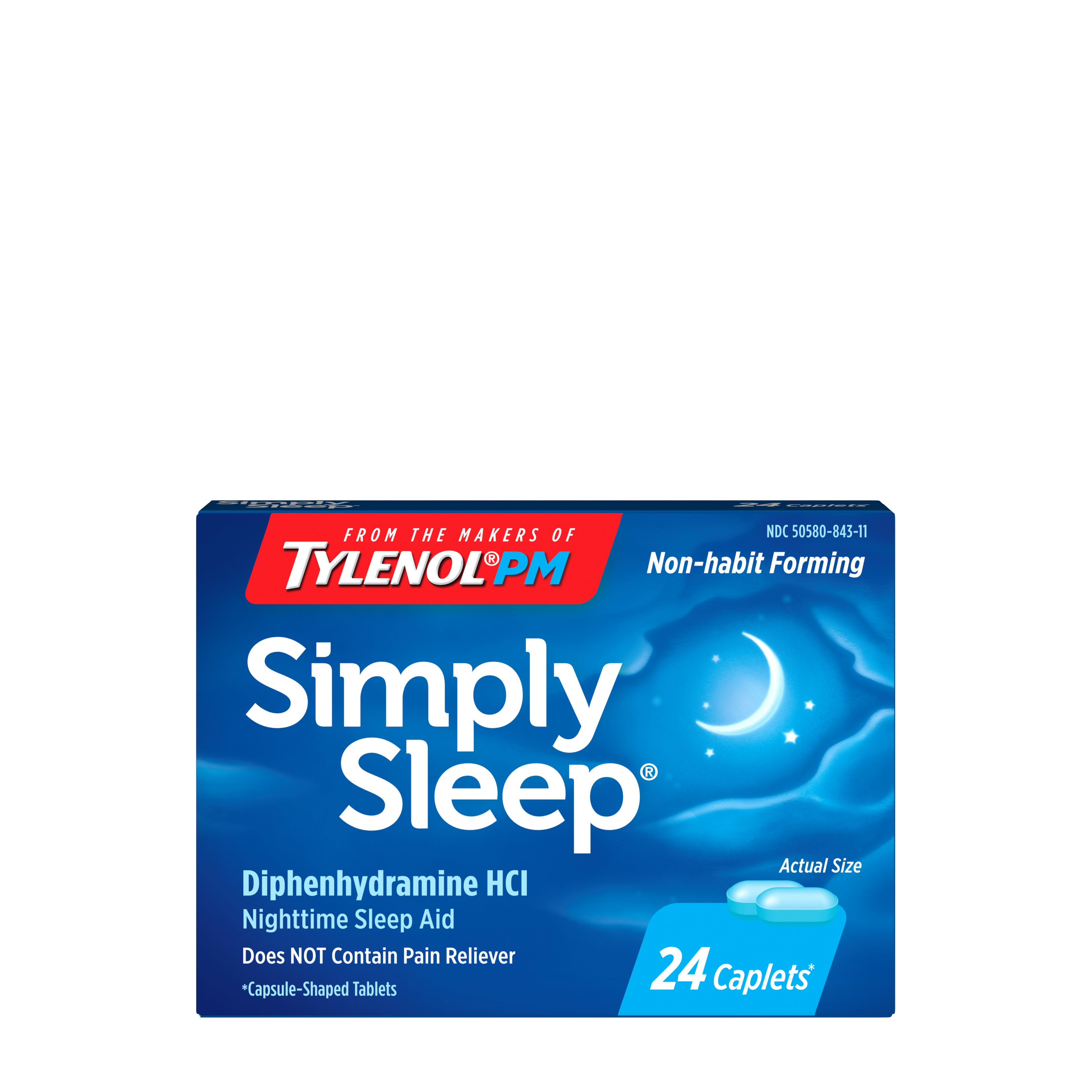 Simply Sleep Non-Habit Forming Nighttime Sleep Aid Caplets, 24 ct