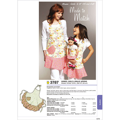 Kwik Sew Pattern Misses', Girls' and Dolls' Aprons, Misses: (S, M, L), Girls: (S, M, L), Doll: 18""