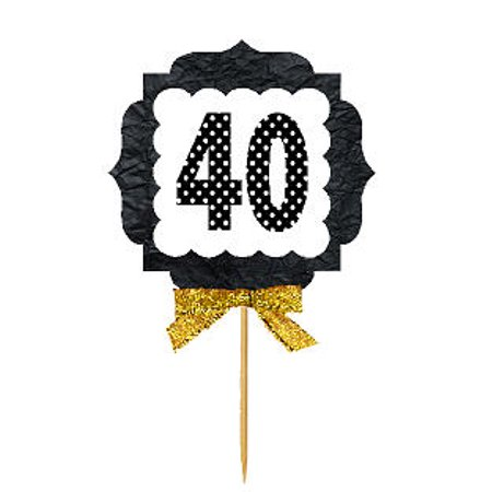 40th Birthday / Anniversary Gold Ribbon Hand Crafted Novelty Cupcake Decoration Toppers / Picks (Anniversary Cupcake)