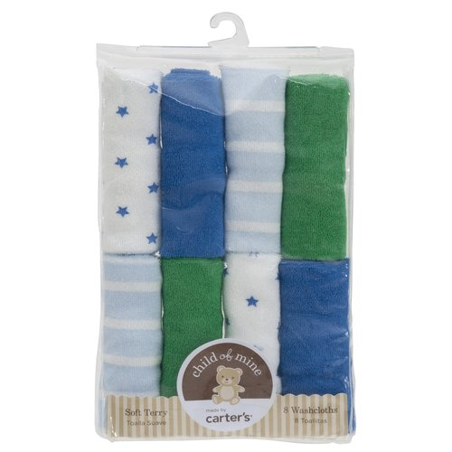 Child of Mine Blue and Green Solid Stripe and Star Print Washcloths, Boy, 8-Pack