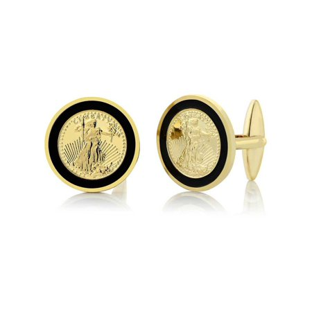 24k Yellow Gold Plated Walking Liberty Coin Cufflinks For Men 22MM in (Titanium Yellow Cufflinks)