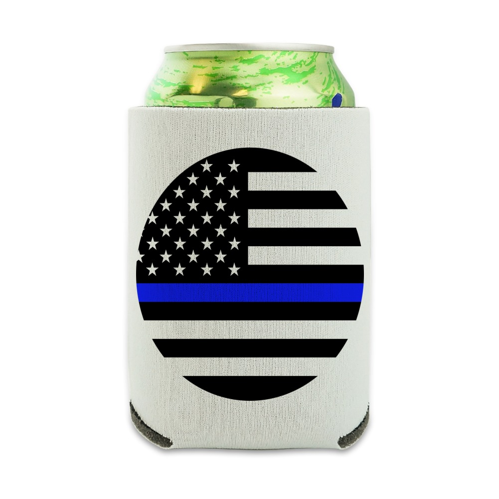 Thin Blue Line American Flag Can Cooler - Drink Sleeve Hugger Collapsible Insulator - Beverage Insulated Holder