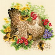 """Hen Counted Cross-Stitch Kit, 11.75"""" x 11.75"""", 14-Count"""