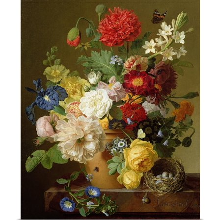 Great Big Canvas Poster Print Entitled Flower Still Life On A Marble Ledge  1800 01