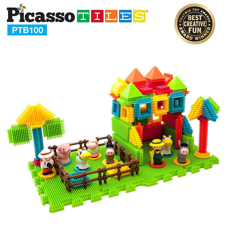 PicassoTiles PTB100 100pcs Bristle Shape 3D STEM Building Blocks Tiles Farm Theme Set... by Picassotiles