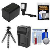 Essentials Bundle for Sony Handycam HDR-CX450, CX455, PJ670, PJ810, AX33, AX100 Camcorders with LED Light + NP-FV70 Battery & Charger + Flex Tripod Kit