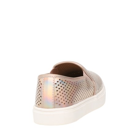 Women's Time and Tru Metallic Perforated Twin Gore Slip On