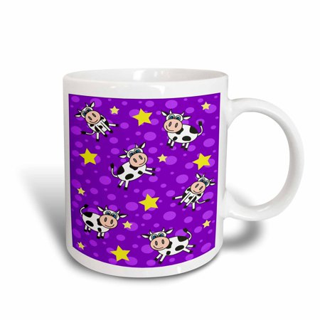 3dRose Happy Cow Boy Print Purple, Ceramic Mug, 15-ounce - Cow Print Cups