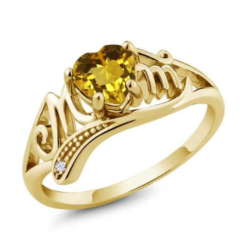 0.47 Ct Heart Shape Yellow Citrine and White Topaz 14k Yellow Gold Mom Ring