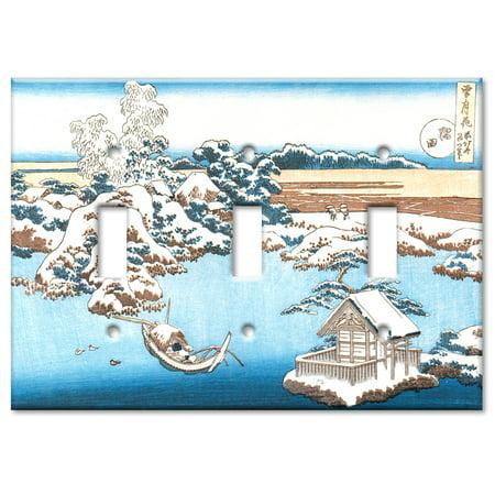 Triple Gang Toggle OVERSIZE Wall Plate Hokusai Sumida River