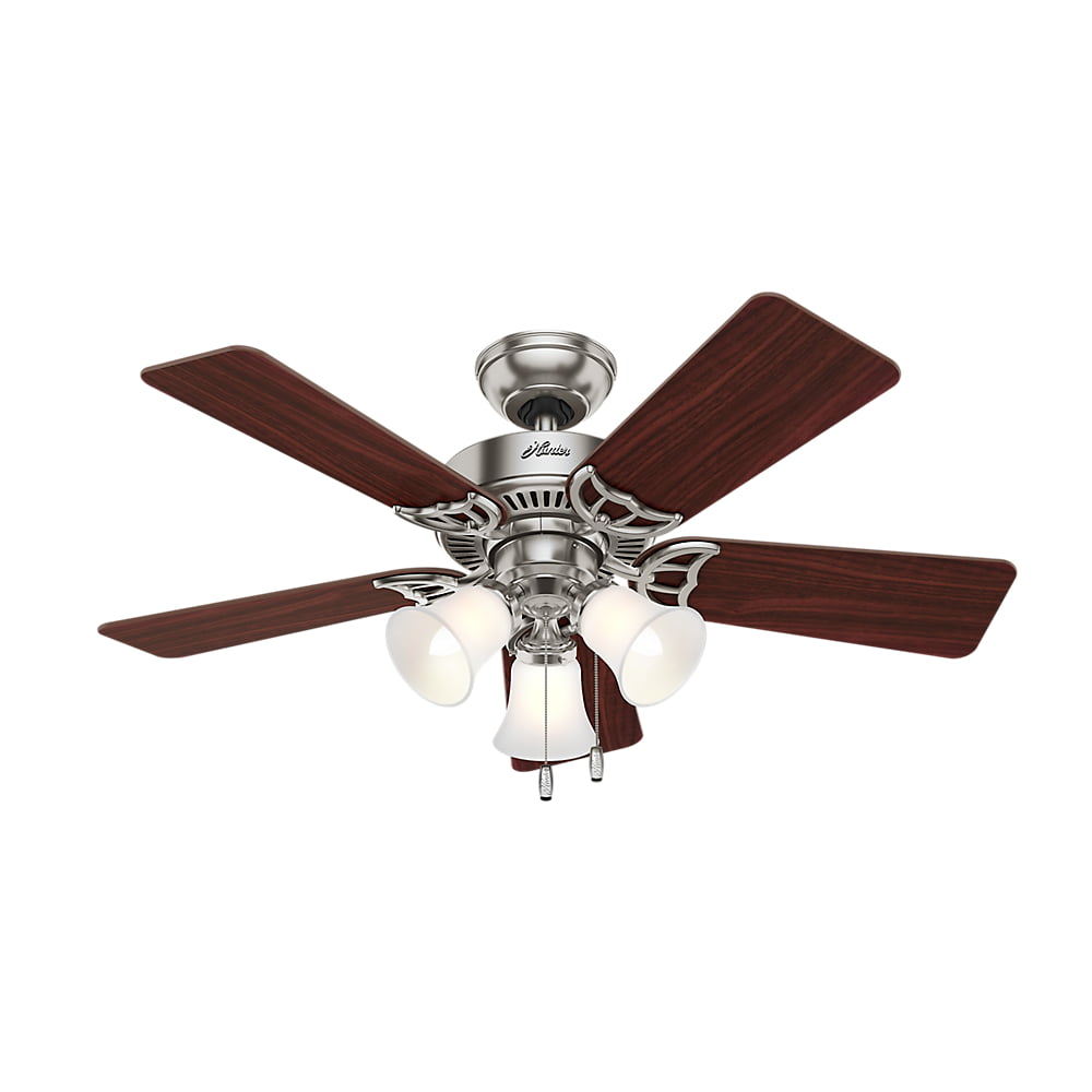"Hunter 42"" Southern Breeze Brushed Nickel Ceiling Fan with Light by Hunter Fan Co"
