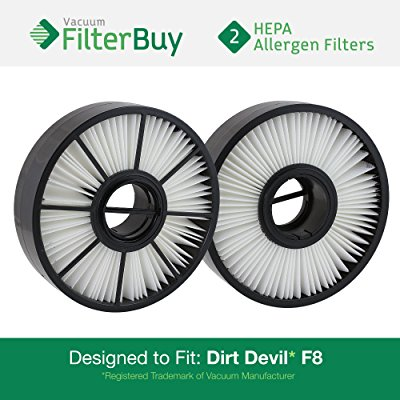 2 - Dirt Devil F8 (F-8) HEPA Replacement Filter, Part # 3UD0280001. Designed by FilterBuy to fit Dirt Devil Ultra Vision Turbo & Power Streak Vacuum Models