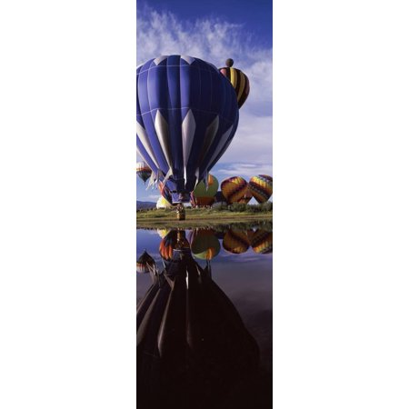 Reflection Of Hot Air Balloons In A Lake Balloon Rodeo Steamboat Springs Routt County Print Wall Art By Panoramic Images
