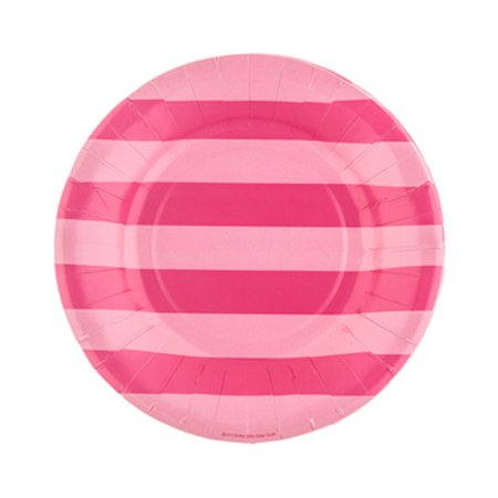 Hot Pink Striped Plates Small Table Decoration Party Supplies Special Events 20 - Hot Pink Party Decorations