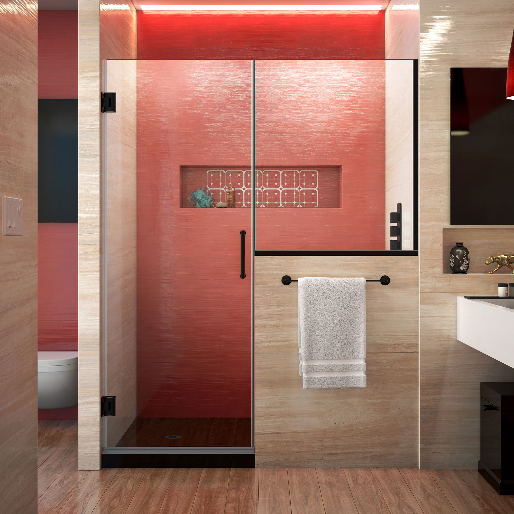 DreamLine Unidoor Plus 58-58 1/2 in. W x 72 in. H Frameless Hinged Shower Door with 34 in. Half Panel in Satin Black