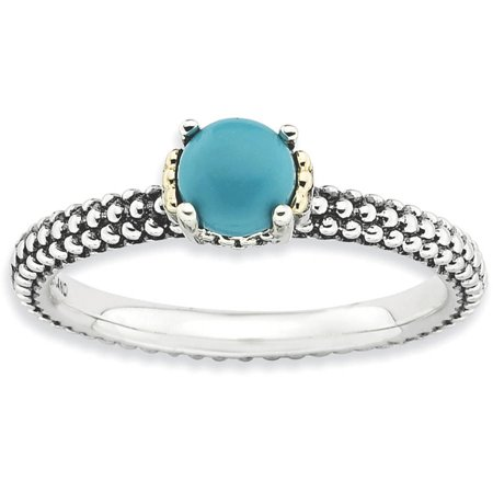 - Stackable Expressions Turquoise Sterling Silver and 14kt Gold Antiqued Ring