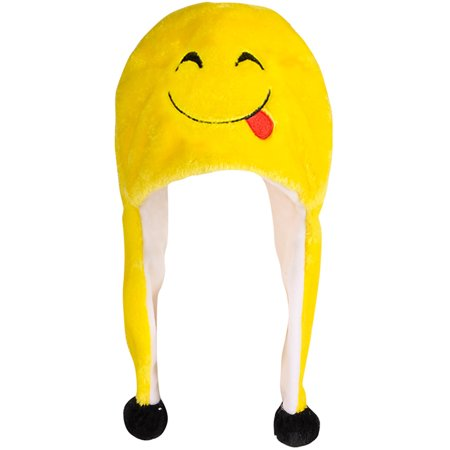 Adults Smiling With Tongue Emoticon Emoji Winter Toque Hat Costume Accessory (Tongue Swirl Emoji)