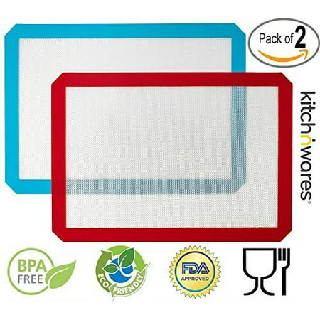 Silicone Baking Mat, Non-Stick Cooking Mat - 2 Pack (red+blue) 11.5X16.5 (Demarle Silicone Baking Mat)