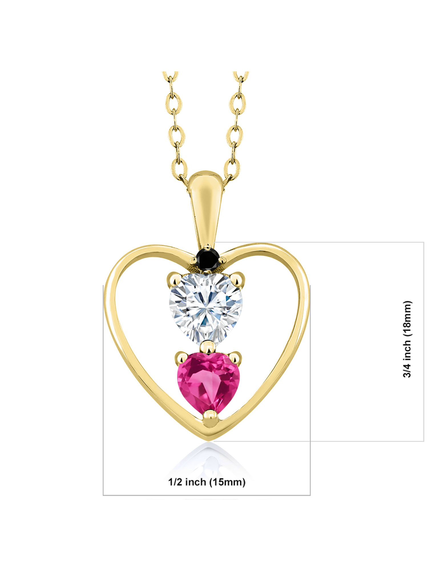 Created Moissanite by Charles /& Colvard and Tourmaline Heart Shape 0.50ct 925 Sterling Silver Pendant Forever Brilliant GHI DEW