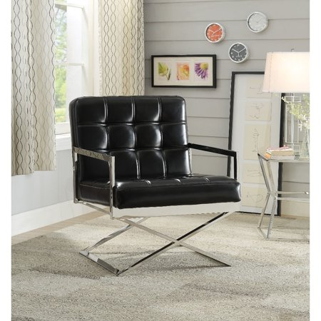 Benzara Polyurethane Upholstered Metal Accent Chair with High Backrest, Black and Silver