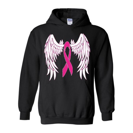 Pink Ribbon with Wings Breast Cancer Awareness Unisex Hoodie Hooded