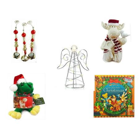Christmas Fun Gift Bundle [5 Piece] - Set of 3 Jingle Bell Dangle Ornaments - Woodniks
