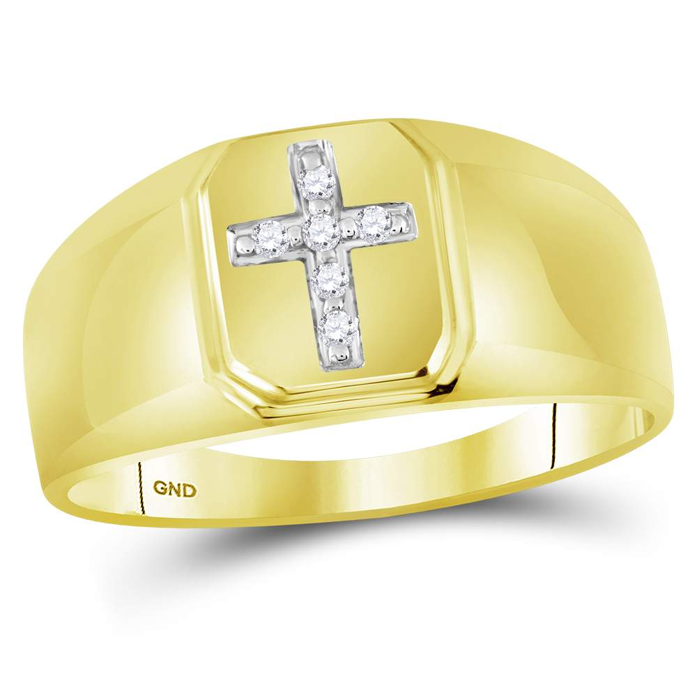 10kt Yellow Gold Mens Round Diamond Christian Cross Brushed Band Ring 1 20 Cttw by CoutureJewelers