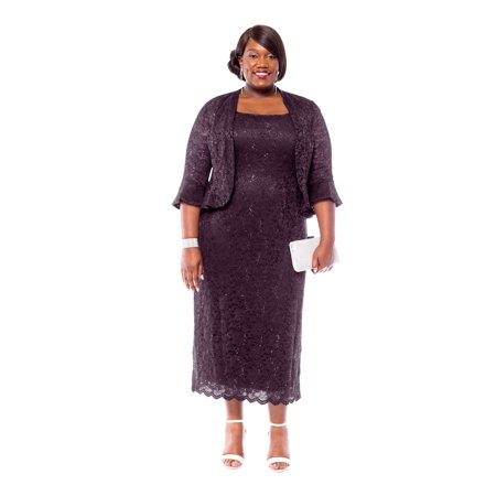 Rm richards women 39 s plus size sequin lace midi dress with for Plus size midi dresses for weddings
