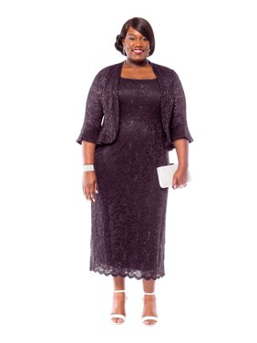 51bcc857db Product Image RM Richards Women s Plus Size Sequin Lace Midi Dress With  Jacket - Mother of The Bride