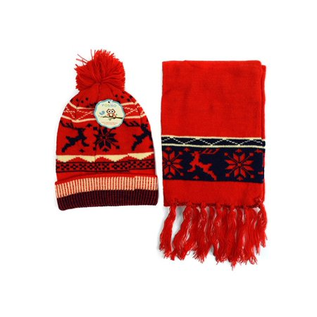 Kids Boys Girls Snowflake Reindeer Pom Beanie Hat and Scarf Set