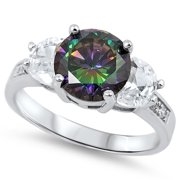 CHOOSE YOUR COLOR Rainbow Simulated Topaz Solitaire Polished Ring New 925 Sterling Silver Band