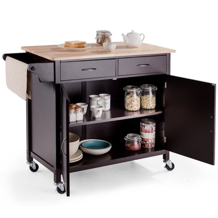 Modern Rolling Kitchen Cart Island Wood Top Storage Trolley Cabinet Utility - image 8 de 9