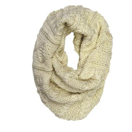 Patrick Francis Irish Celtic Aran Knit Acrylic Chunky Snood Cream Colour