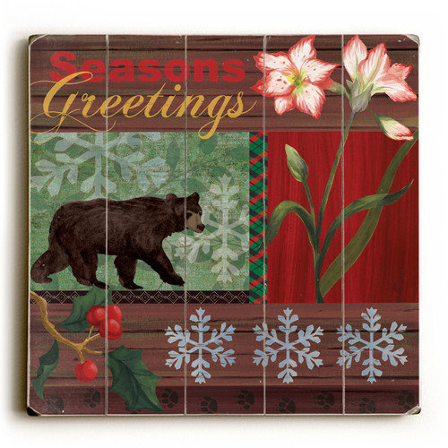 Artehouse LLC Season's Greetings Bear Textual Art