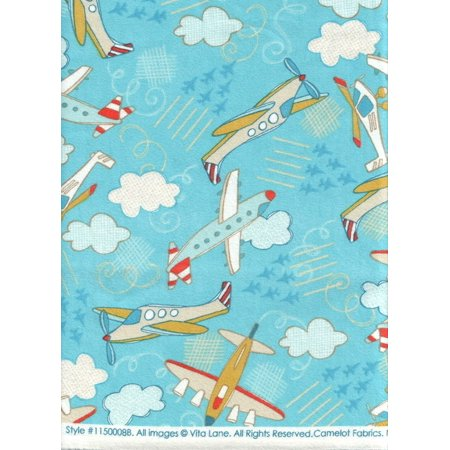 Tiger Moth Airplane (Camelot Fabrics ~ Wild Blue Yonder Airplanes Light Blue Flannel Quilt Fabric ~ HALF YARD!! ~ #1150008B ~ Children's Airplane & Helicopter Print 100% Cotton 45