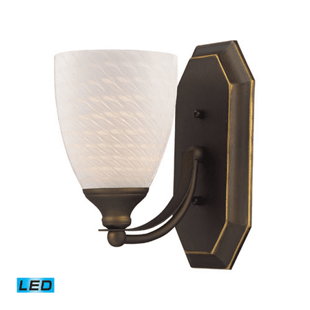Bathroom Vanity 1 Light LED With Aged Bronze Finish White Swirl Glass 5 inch 13.5 Watts - World of Lamp