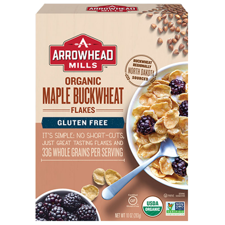 Arrowhead Mills Organic Gluten-Free Cereal, Maple Buckwheat Flakes, 10 oz.