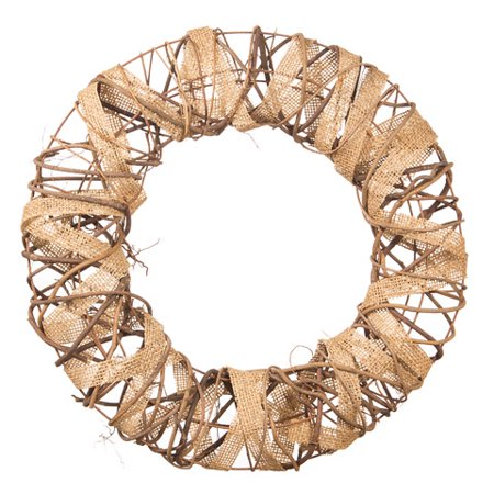 Darice Rustic Wreath with Burlap and Vine Accents, 16 inches