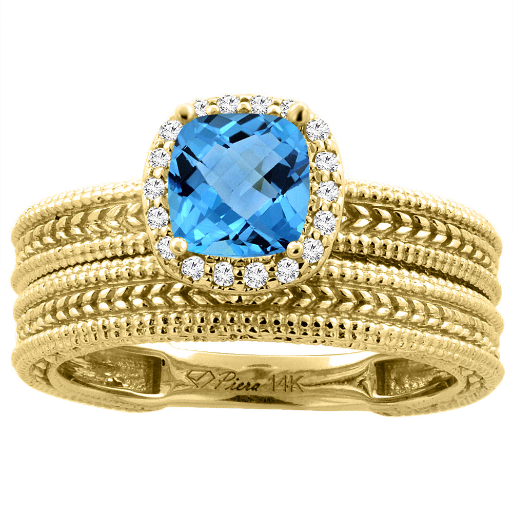 14K Yellow Gold Diamond Natural Swiss Blue Topaz 2-pc Engagement Ring Set Cushion 7x7 mm, size 5 by Gabriella Gold