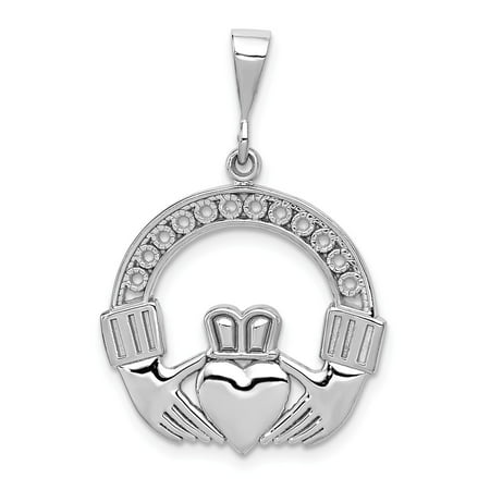 14k White Gold Polished & Satin Claddagh Pendant, 21mm (13/16 inch)