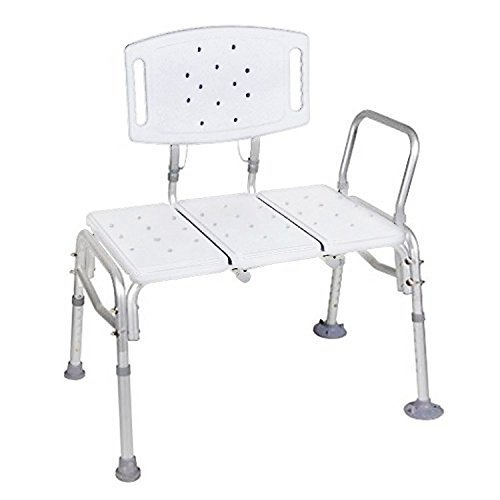 Transfer Bench Adjustable Height,heavy Duty Bariatric 500 Lb Plastic Seat with Back Non-slip Seat WHITE By Healthline