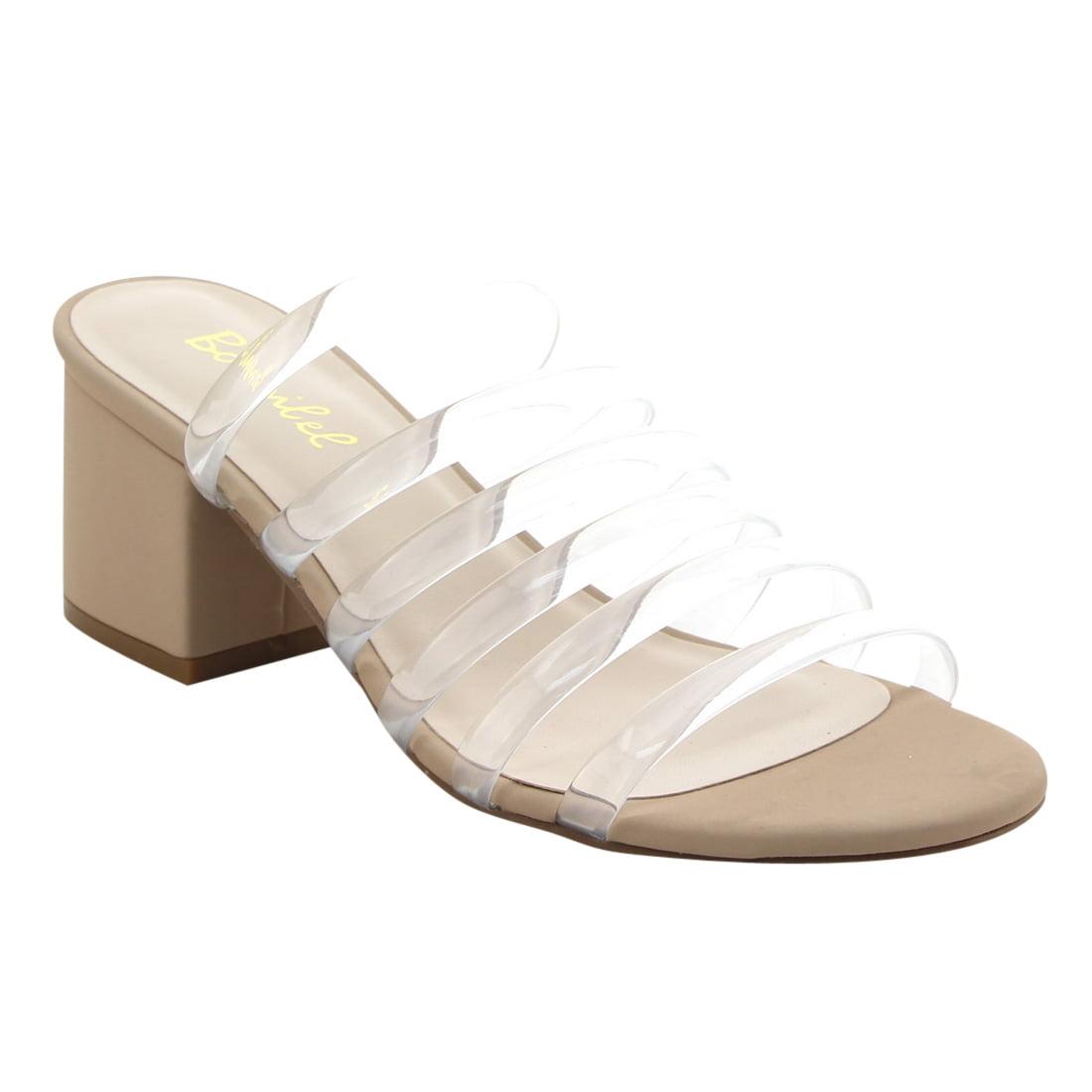 BONNIBEL FJ65 Women's Block Heel Slip On Clear Strap Slides Sandals