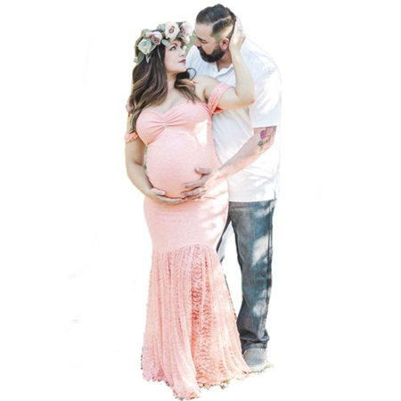 Pregnant Women Off Shoulder Lace Long Maxi Dress Gown Maternity Photography (Next Lace Maxi Dress)