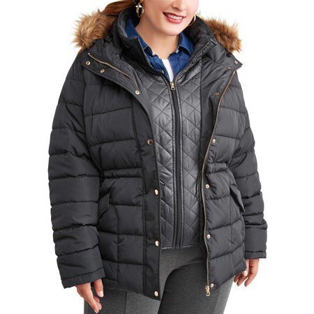 d99e9877b04 Time and Tru - Women s Plus-Size Heavyweight Puffer Coat With Faux Fur-Trim  Hood - Walmart.com