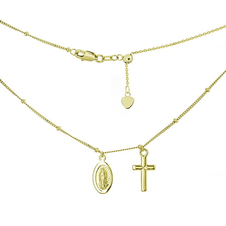 Dangling Cross Pendant - 14k Yellow Gold Mini Dangle Cross with Miraculous Mary Medal Adjustable Choker Necklace
