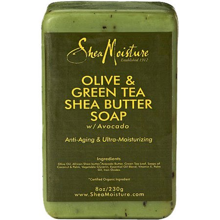 (2 pack) SheaMoisture Olive & Green Tea Shea Butter Soap, Anti Aging & Ultra Moisturizing, 8