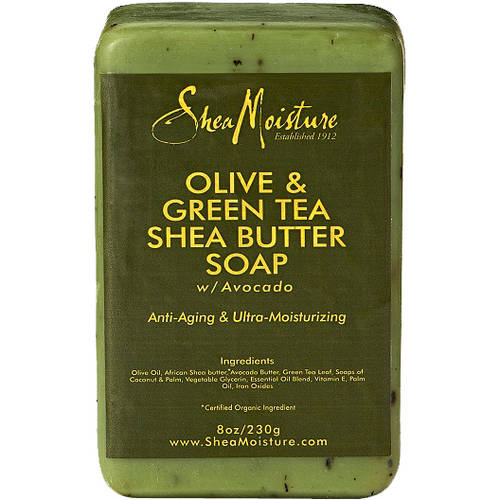 SheaMoisture Olive & Green Tea Shea Butter Soap, Anti Aging & Ultra Moisturizing, 8 oz